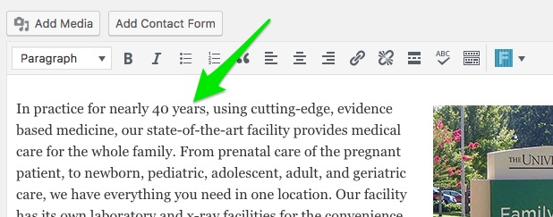 image showing green arrow pointing at the main content editor