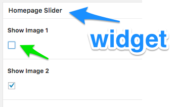 blue arrow pointing at the widget title and a green arrow pointing the first checkbox